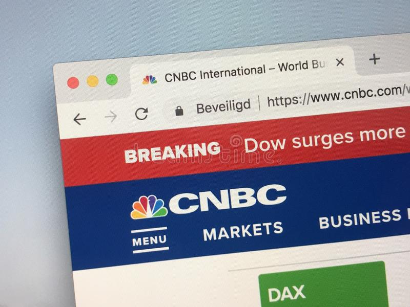 Website of CNBC reporting a breaking news item. Amsterdam, Netherlands - October 12, 2018: Website of CNBC, an American television business news channel royalty free stock photos