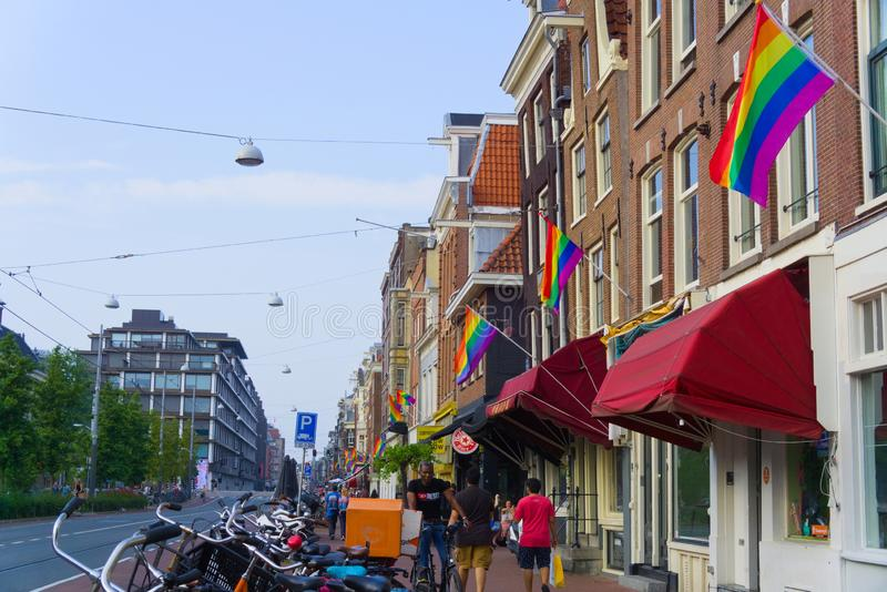 27-07-2019 amsterdam the netherlands pride parade 2019 amsterdam covered in rainbow flags. Vijzelgracht royalty free stock images