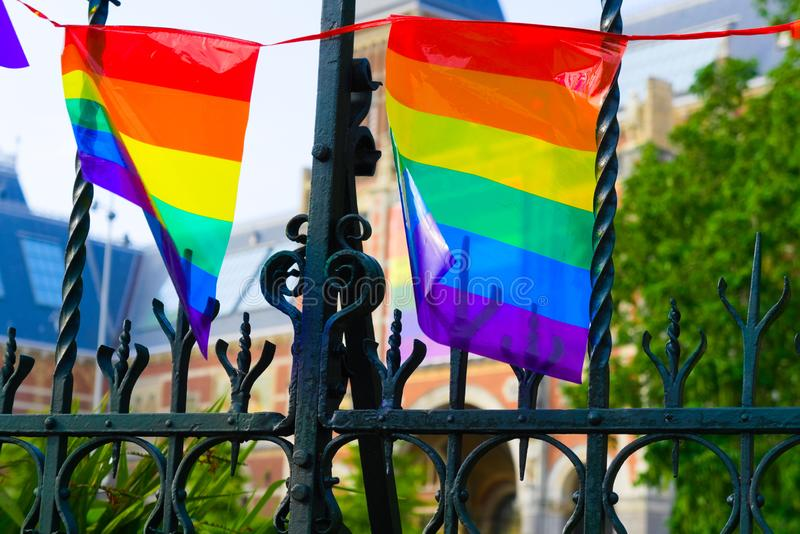 27-07-2019 amsterdam the netherlands pride parade 2019 rijksmuseum covered with the pride flag stock image