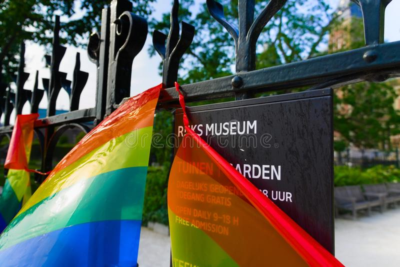 27-07-2019 amsterdam the netherlands pride parade 2019 rijksmuseum covered with the pride flag stock photo