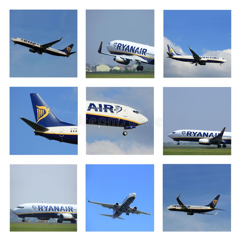 Amsterdam, the Netherlands 2017: Ryanair Boeing 737-800 collage. Taking off or arriving, Amsterdam Airport Schiphol stock photo