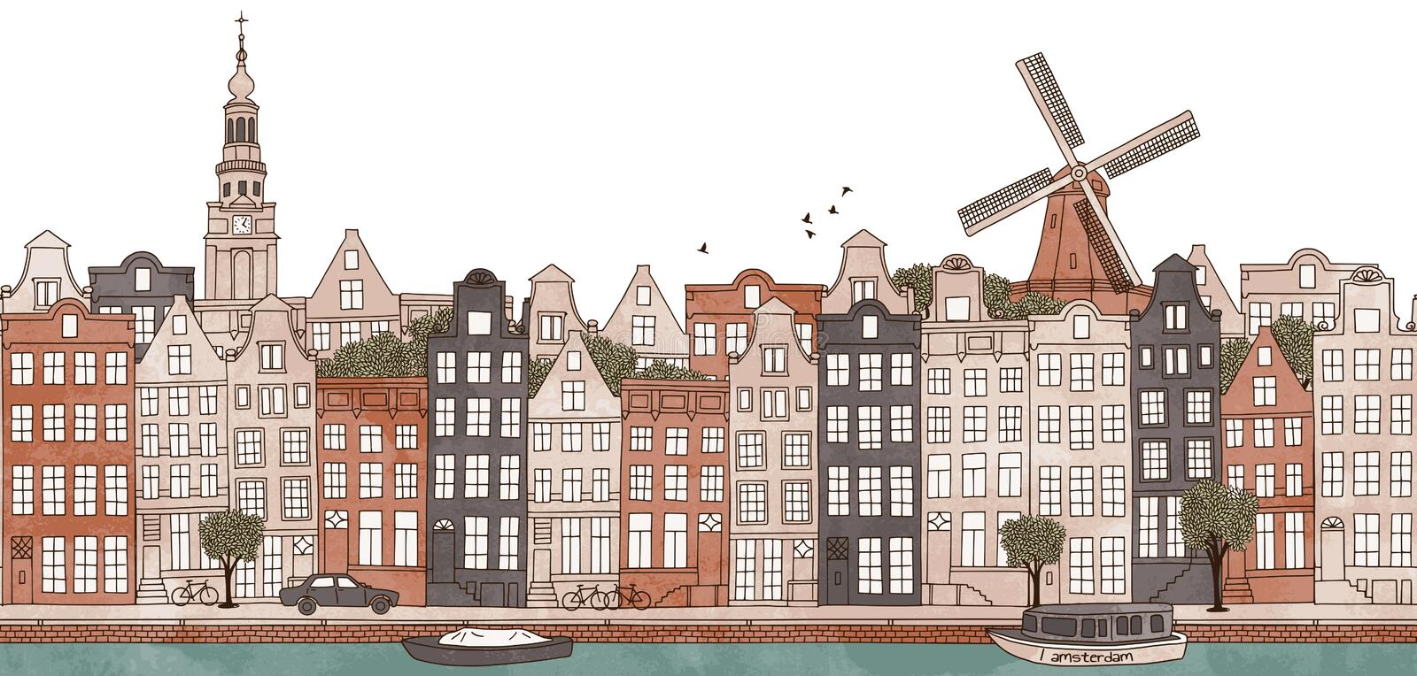 Amsterdam, Netherlands - seamless banner of Amsterdam's skyline. Seamless banner of Amsterdam's skyline, hand drawn and digitally colored ink illustration vector illustration