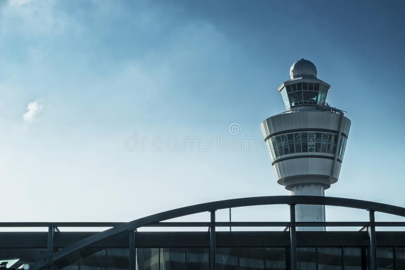 AMSTERDAM/NETHERLANDS 12 SEP 2014 - Schiphol Airport Control Tower royalty free stock images