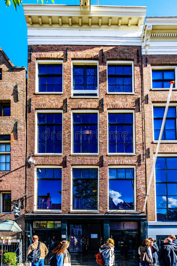 The Anne Frank House and Museum at the Prinsengracht Prince Canal in the Jordaan District in the historic center of Amsterdam. Amsterdam, the Netherlands - Sept royalty free stock photo