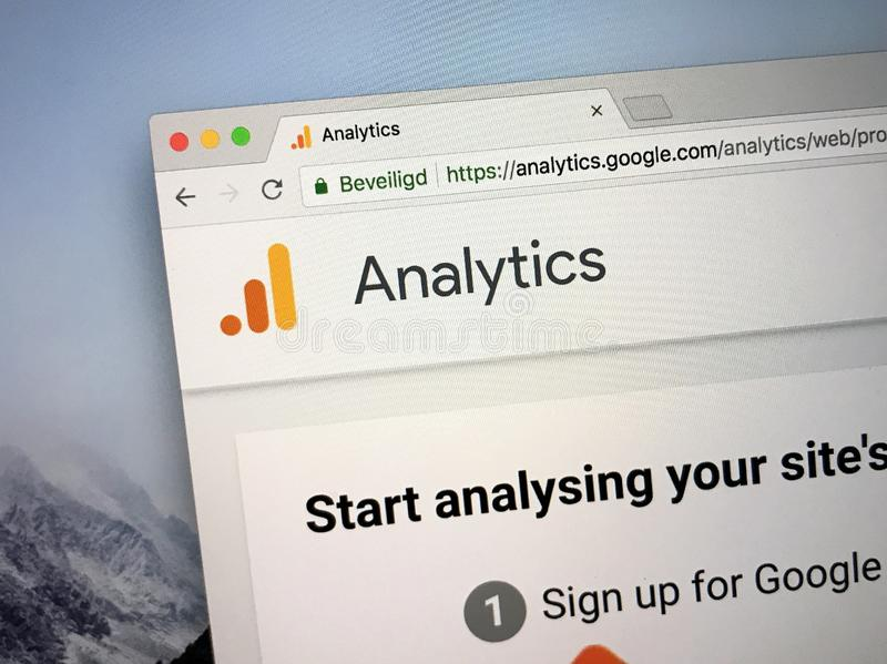 Homepage of Google Analytics royalty free stock photography