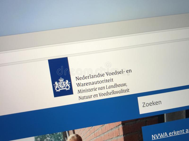 Homepage of the Dutch Food and Consumer Product Safety Authority. Amsterdam, the Netherlands - September 3, 2018: Website of the Netherlands Food and Consumer stock images