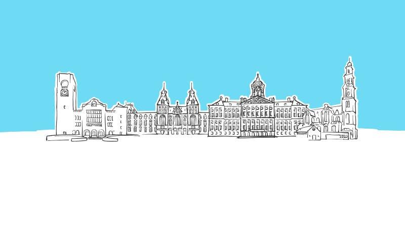 Amsterdam, Netherlands Skyline Panorama Vector Sketch. Hand-drawn Illustration on blue background stock illustration
