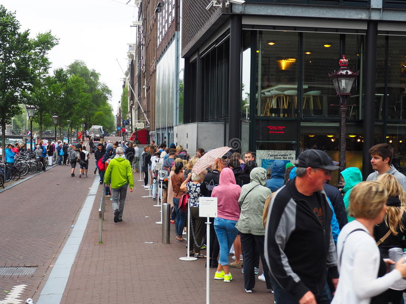 Amsterdam, The Netherlands, Summer 2015. waiting line for the famous anne frank house royalty free stock photos