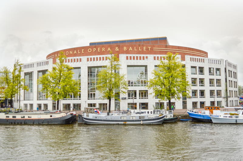 Amsterdam, the Netherlands - 17.09.2015: View at the dutch national opera building close to canal stock images