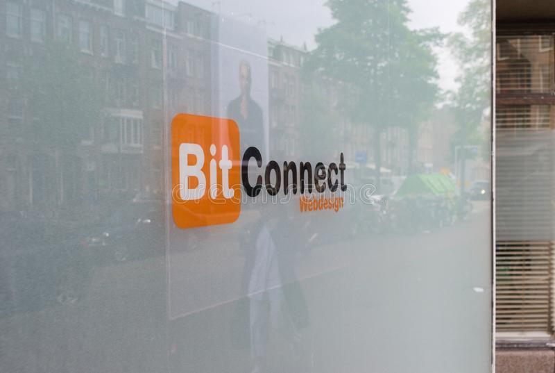 07/06/19 amsterdam the netherlands web designer company in amsterdam has the same name as infamous bitconnect cryptocurrency royalty free stock images