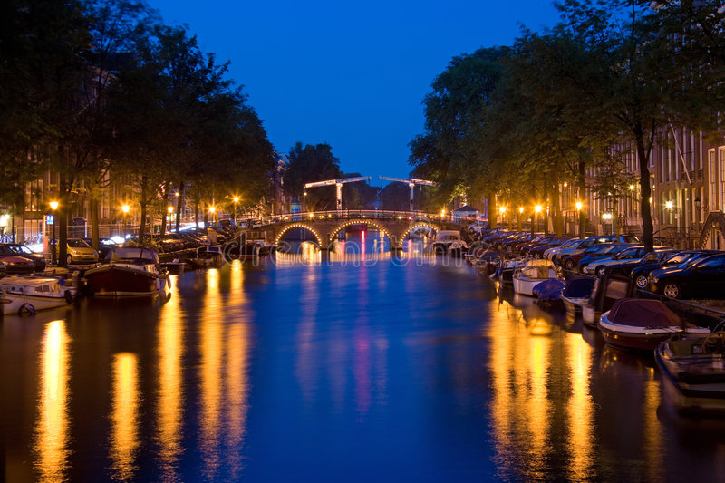 Amsterdam by night 1. Night view in the center of Amsterdam royalty free stock images