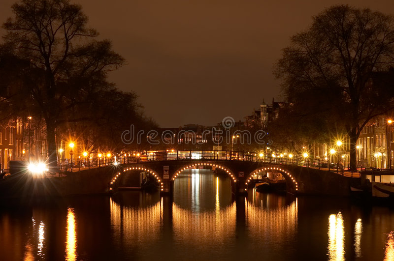 Amsterdam at night stock photo