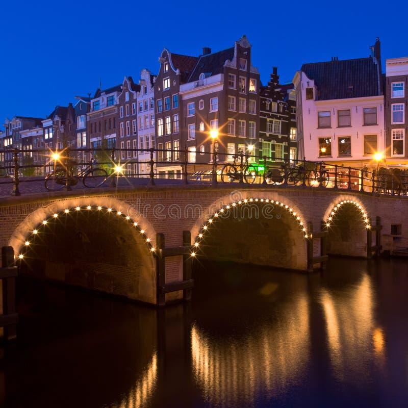 Amsterdam at night royalty free stock image