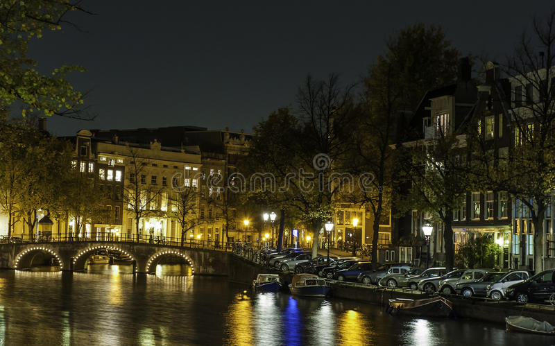 Amsterdam in Night royalty free stock photos