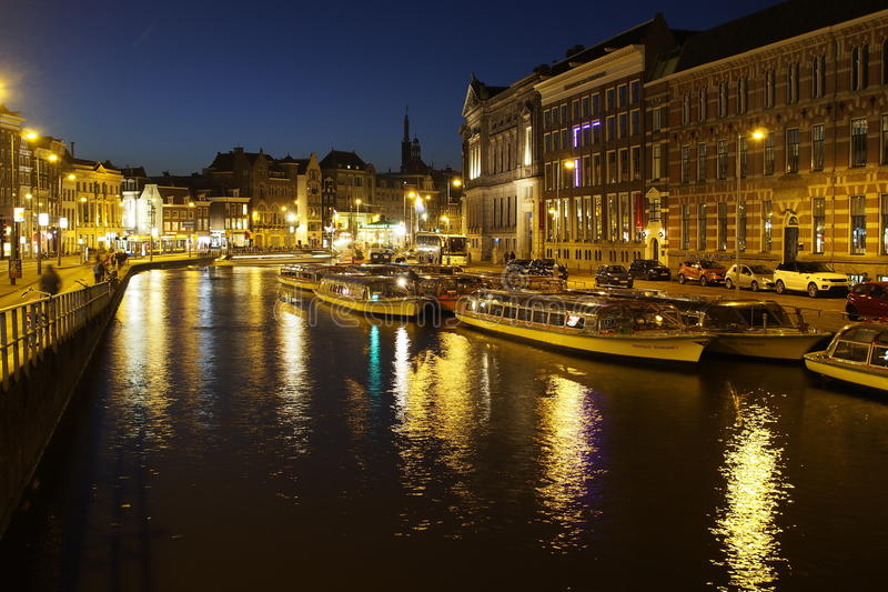 Amsterdam by night royalty free stock photos