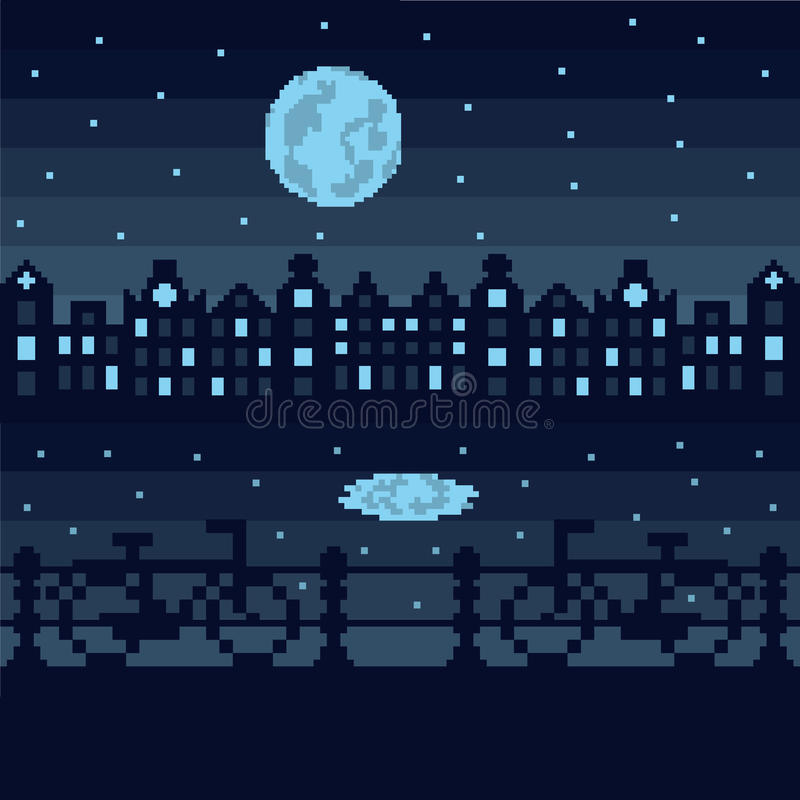 Amsterdam by night, pixel vector illustration. Pixelated view of Amsterdam by night with canalhouses, bikes and a big moon royalty free illustration