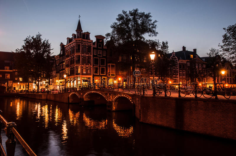 Amsterdam by night royalty free stock image