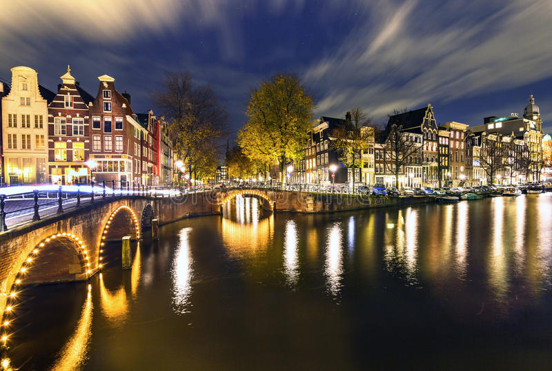 Amsterdam noce obrazy royalty free