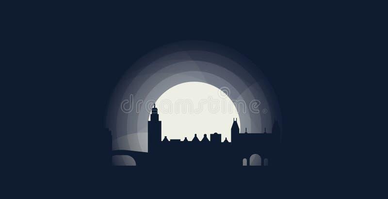 Amsterdam nocy miasta linii horyzontu ilustracja royalty ilustracja