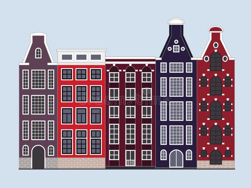 Amsterdam old city street houses buildings vector illustration stock illustration