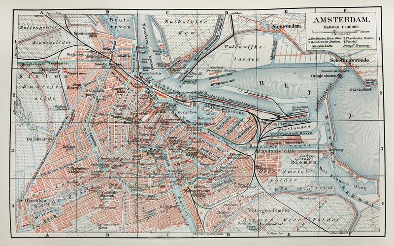 Amsterdam old map stock images