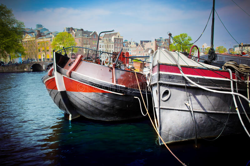 Amsterdam Old Town Canal, Boats. Royalty Free Stock Photos