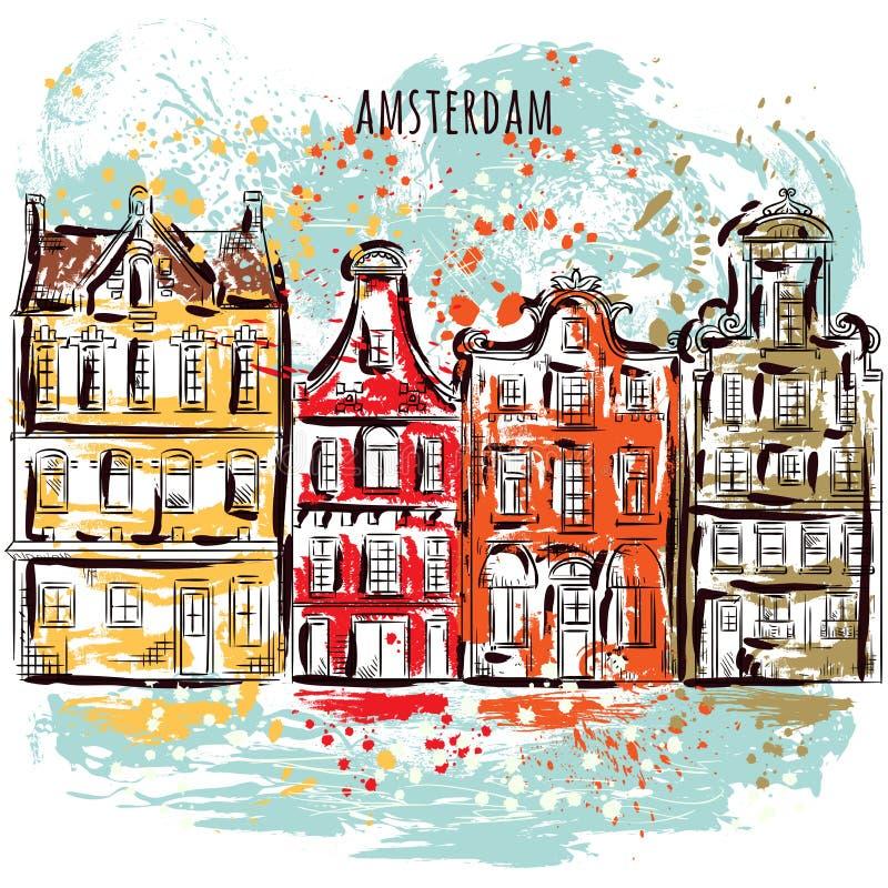 Amsterdam Oud historisch gebouwen en kanaal Traditionele architectuur van Nederland Kleurrijk hand getrokken grunge stijlart. vector illustratie
