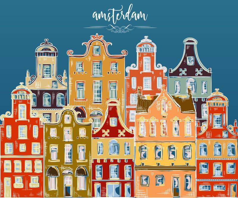 Amsterdam Oude historische gebouwen en traditionele architectuur van Nederland royalty-vrije illustratie
