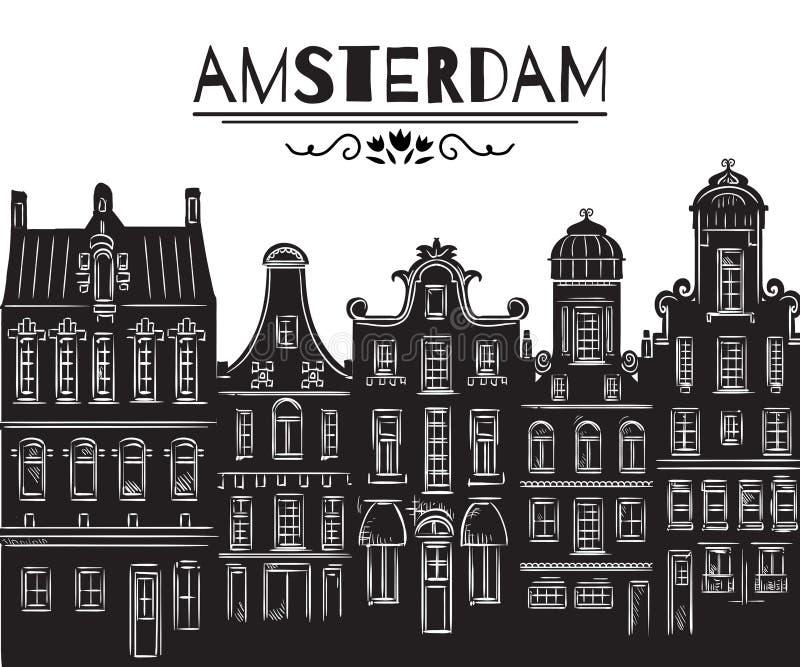 Amsterdam Oude historische gebouwen en traditionele architectuur van Nederland vector illustratie