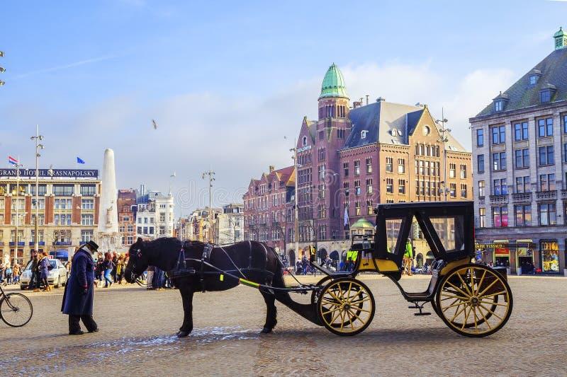 Amsterdam, Países Bajos, cuadrado de la presa foto de archivo libre de regalías