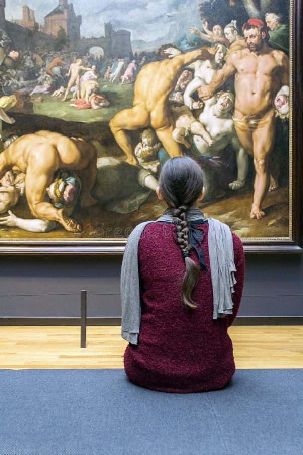 AMSTERDAM, PAÍSES BAJOS - 8 DE FEBRERO: Visitante en Rijksmuseum encendido fotografía de archivo libre de regalías