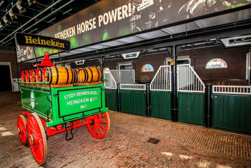 Amsterdam, Países Bajos - 7 de mayo de 2016: La experiencia de Heineken, situada en Amsterdam, es una cervecería histórica y un v imagen de archivo libre de regalías