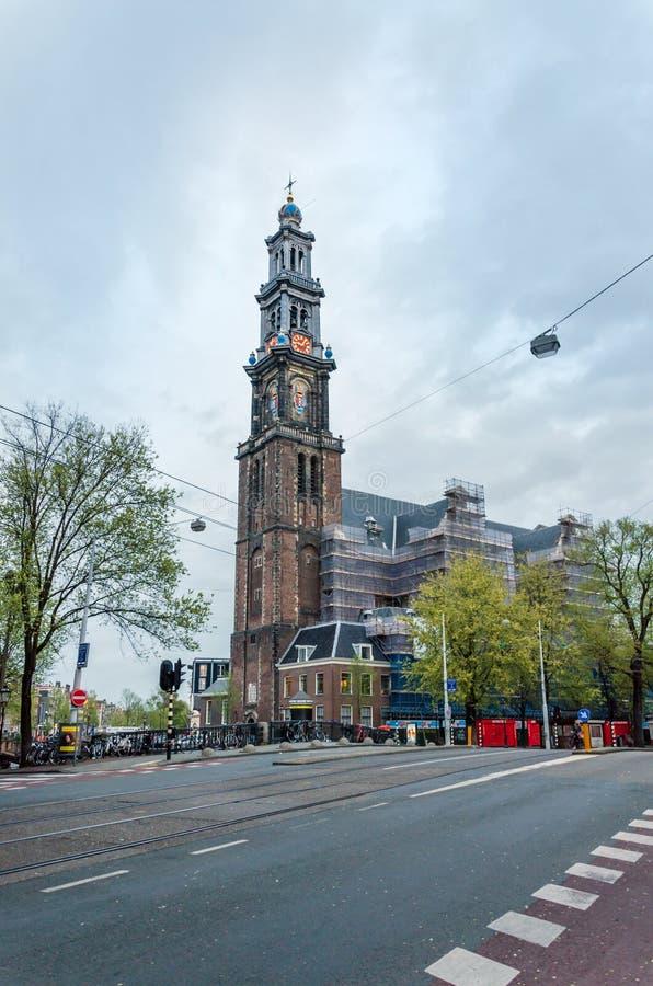 Amsterdam, Países Bajos - 6 de mayo de 2015: Westerkerk (iglesia occidental) en Amsterdam imagen de archivo
