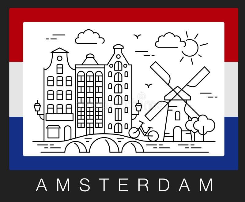 Amsterdam, Países Bajos Ejemplo del vector de las vistas de la ciudad imagen de archivo