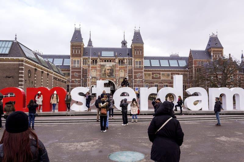 AMSTERDAM, PAESI BASSI - 8 FEBBRAIO: Rijksmuseum Amsterdam fotografia stock