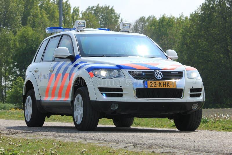 Amsterdam, Paesi Bassi: 6 maggio 2017: Volante della polizia olandese fotografia stock