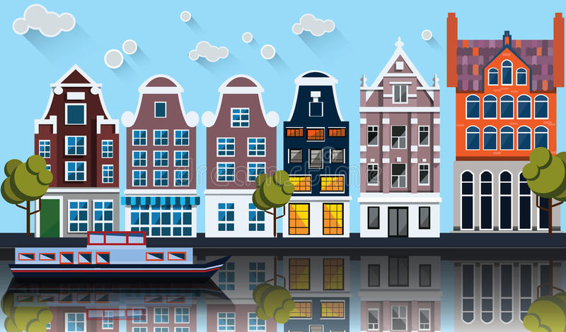 Amsterdam panorama.Canal,boat,houses. Vector illustration with Amsterdam panorama.Canal,boat, old houses vector illustration