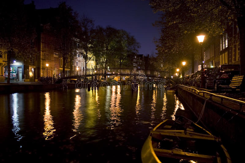 Amsterdam par Night photographie stock