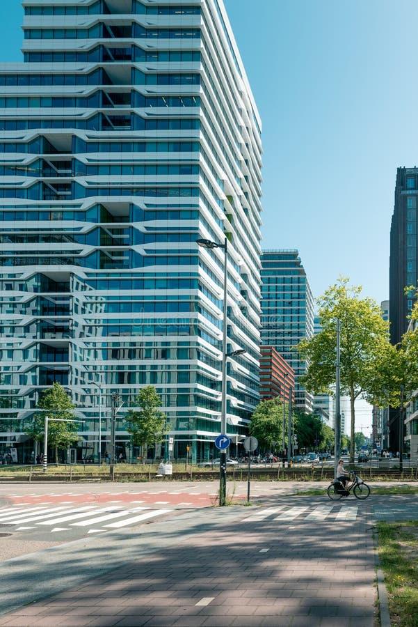 Zuidas in amsterdam, Parnassusweg, Sky scrapers, wtc. Amsterdam, Parnassusweg, the Netherlands, 05/29/2019, Sky scrapers, Modern office buildings in Amsterdam royalty free stock photo