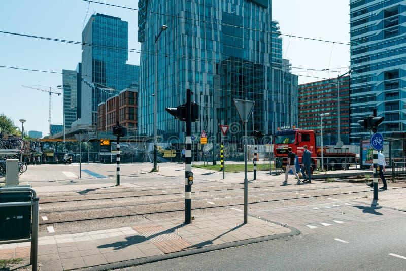 Zuidas in amsterdam, Parnassusweg, Sky scrapers, wtc. Amsterdam, Parnassusweg, the Netherlands, 05/29/2019, Sky scrapers, Modern office buildings in Amsterdam stock images