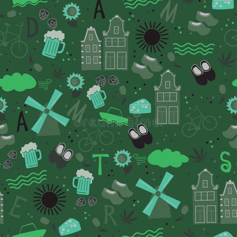 Amsterdam pattern seamless design graphic stock illustration