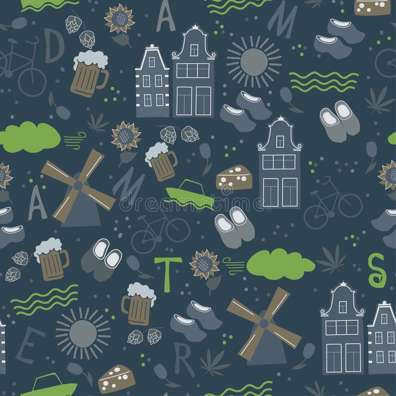 Amsterdam pattern seamless design graphic. Amsterdam pattern seamless design. Decoration travel series vector illustration