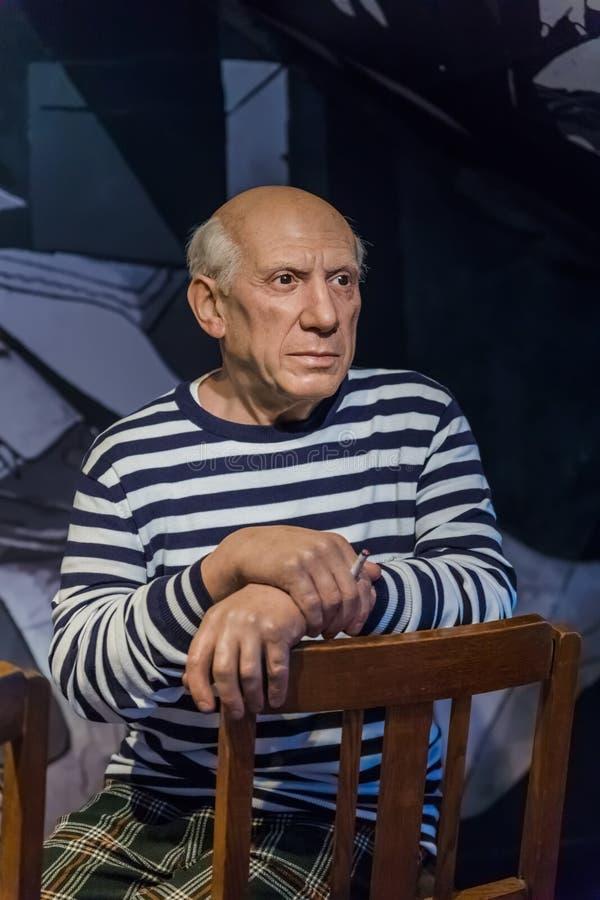 AMSTERDAM, PAYS-BAS - 25 AVRIL 2017 : Statu de cire de Pablo Picasso photo libre de droits