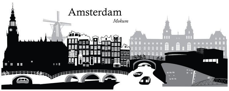 Amsterdam pejzaż miejski ilustracji