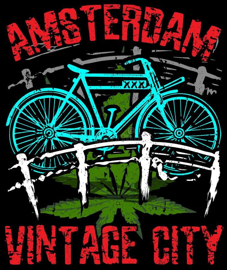 Amsterdam poster graphic design. Fashion style royalty free illustration