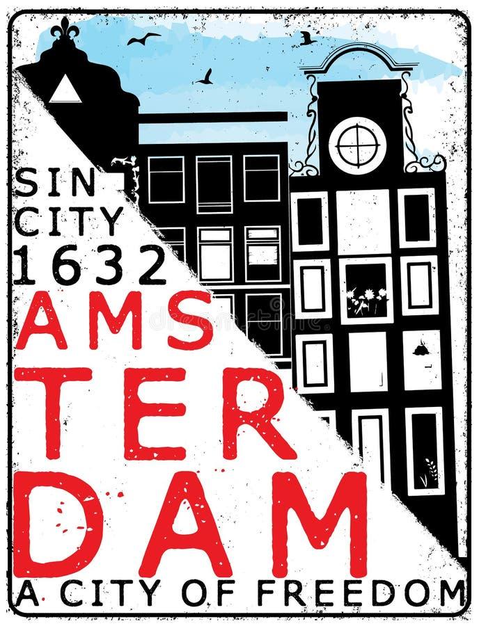 Amsterdam poster t shirt design. Fashion style stock illustration