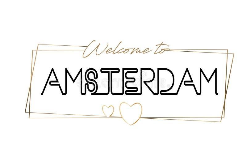Amsterdam powitanie teksta literowania Neonowa typografia Słowo dla logotypu, odznaka, ikona, pocztówka, logo, sztandaru wektoru  ilustracja wektor