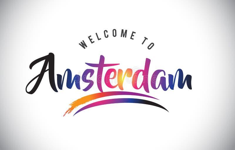 Amsterdam powitanie wiadomość w Purpurowych Wibrujących Nowożytnych kolorach ilustracja wektor