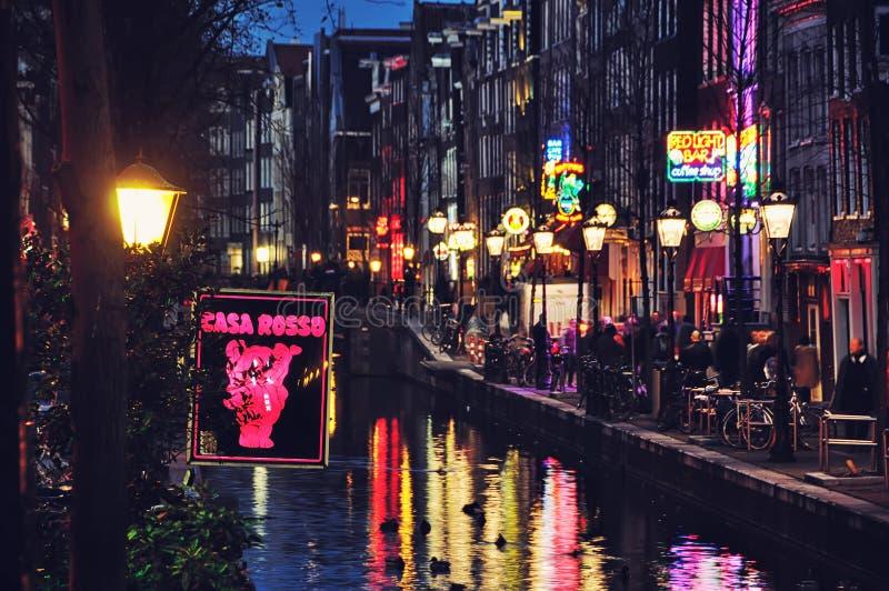 Amsterdam rött ljusområde arkivbilder
