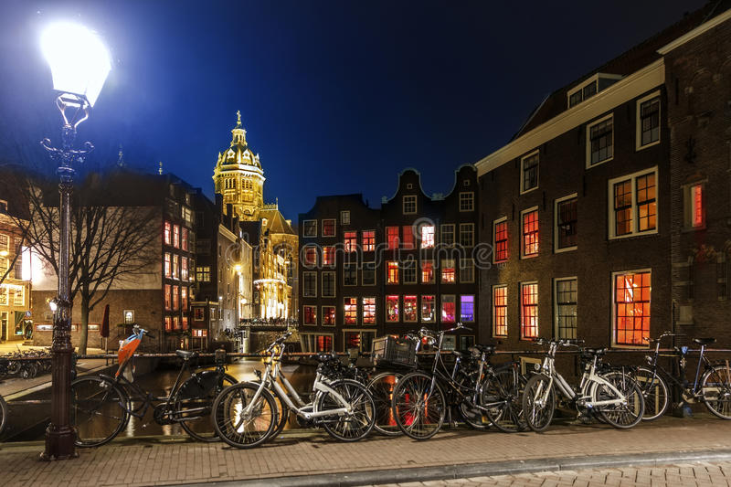 Amsterdam Red Light District at night, Singel Canal royalty free stock photos